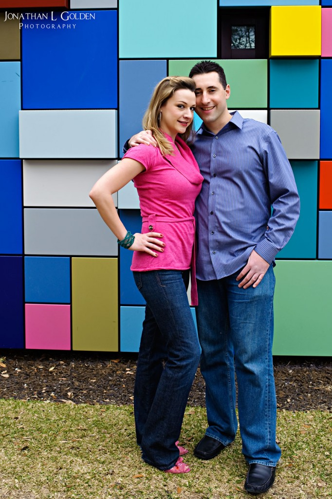 Mindy-&-Greg-Engagement-multicolored-wall